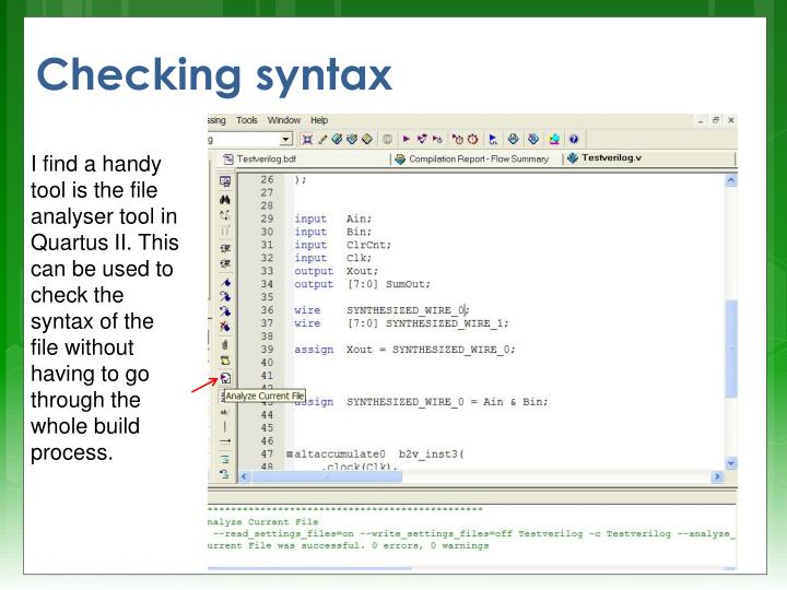 Checking syntax