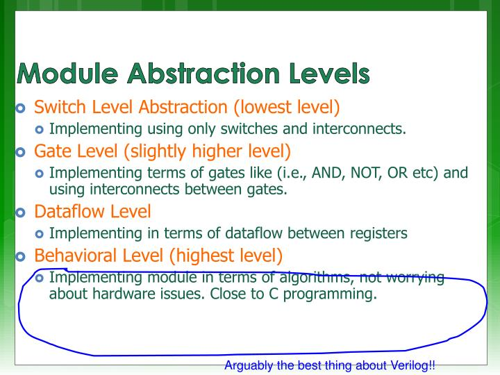 Switch Level Abstraction (lowest level)