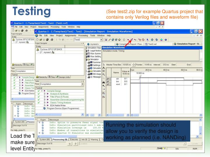 (See test2.zip for example Quartus project that contains only Verilog files and waveform file)