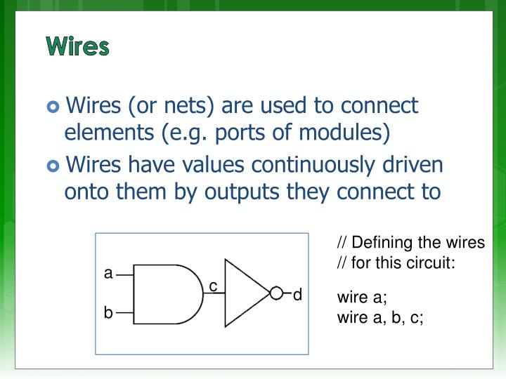 Wires (or nets) are used to connect elements (e.g. ports of modules)