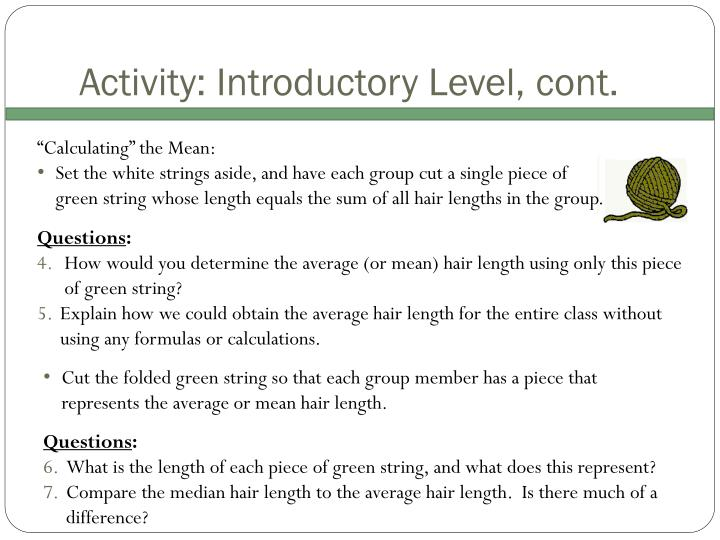 Activity: Introductory Level, cont.