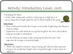 activity introductory level cont