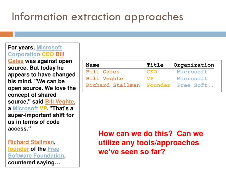 Information extraction approaches