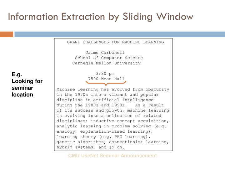 Information Extraction by Sliding