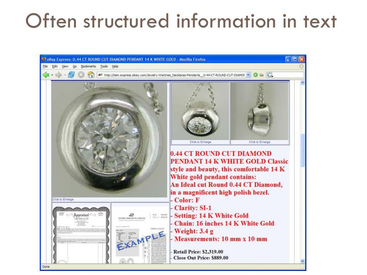 Often structured information in text