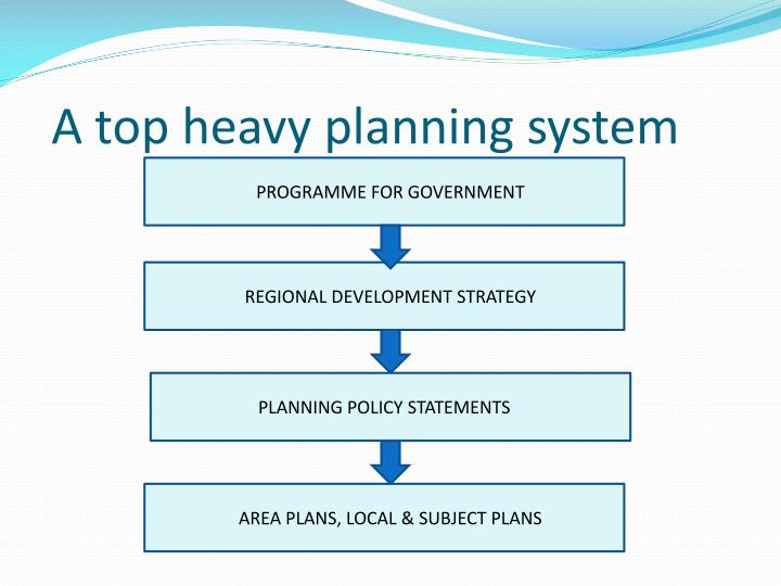 A top heavy planning system