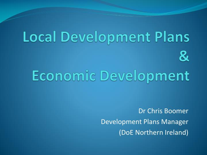 Local development plans economic development