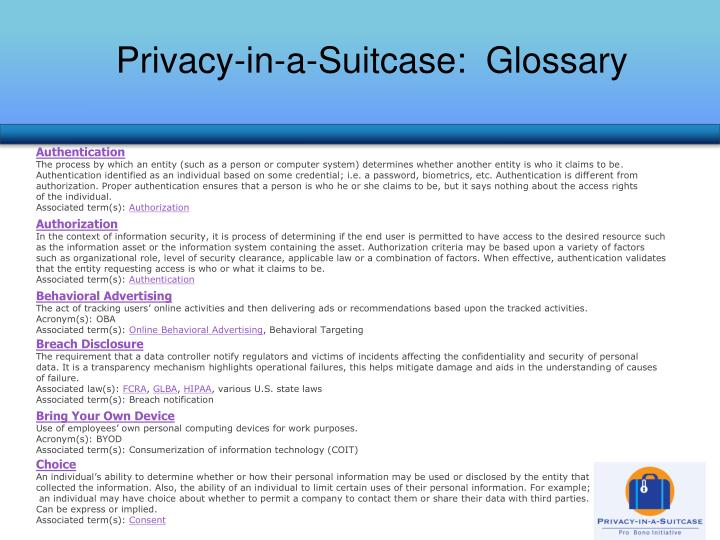 Privacy-in-a-Suitcase:  Glossary