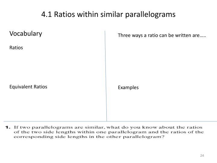 4.1 Ratios within similar parallelograms