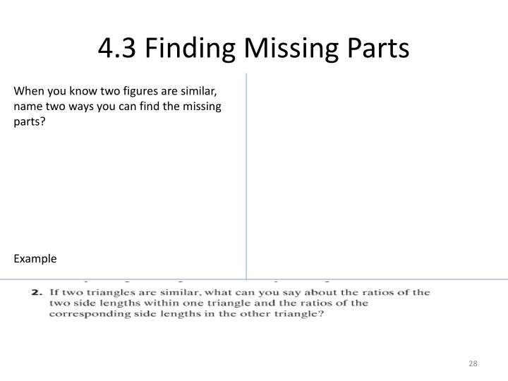 4.3 Finding Missing Parts
