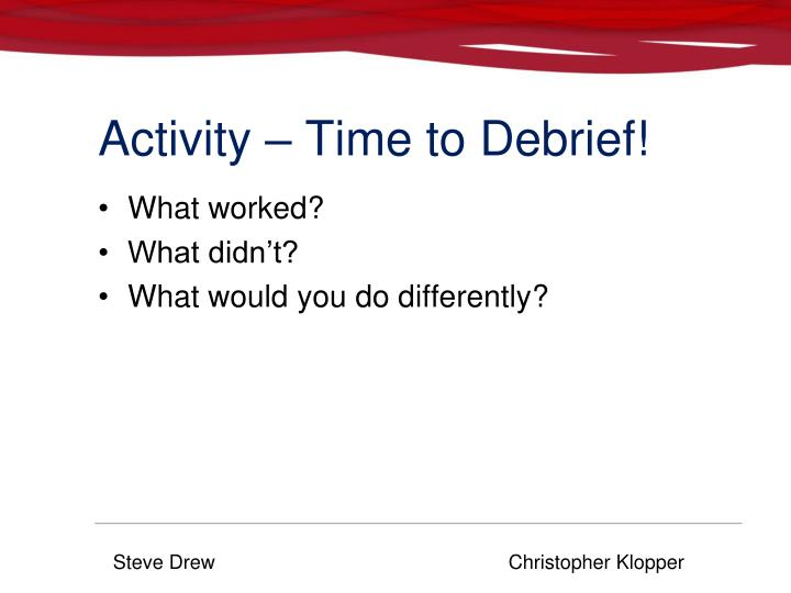Activity – Time to Debrief!