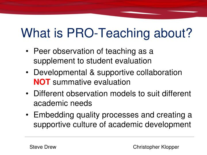 What is PRO-Teaching about?