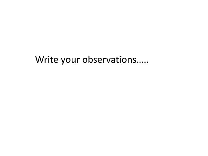 Write your observations…..