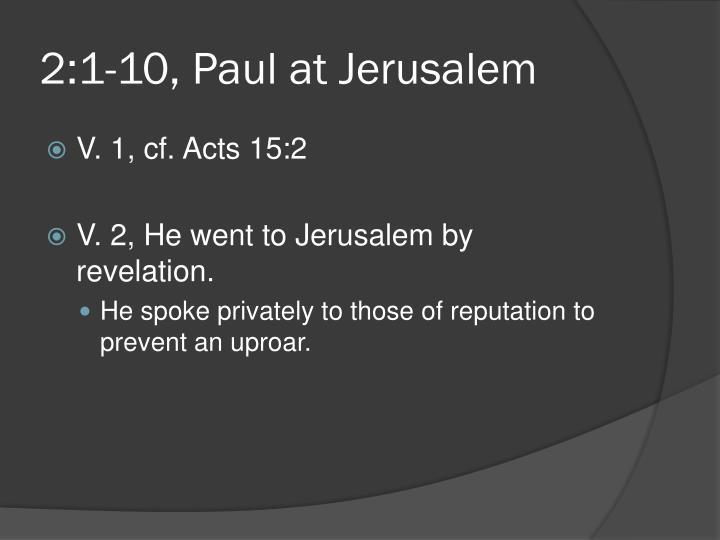 2:1-10, Paul at Jerusalem