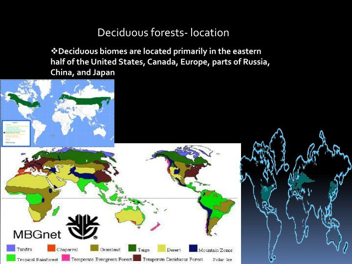 Deciduous forests- location