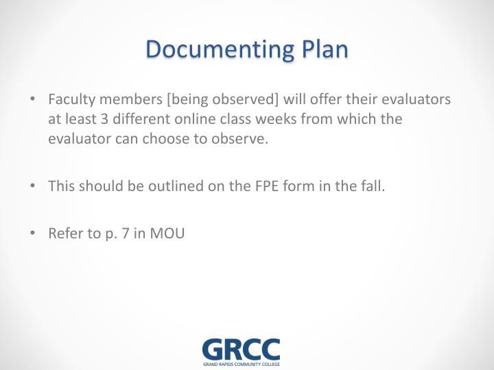 Documenting Plan