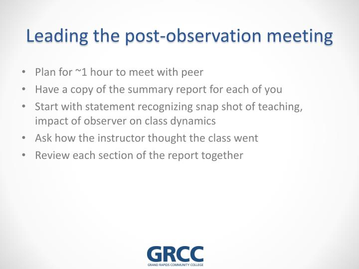 Leading the post-observation meeting