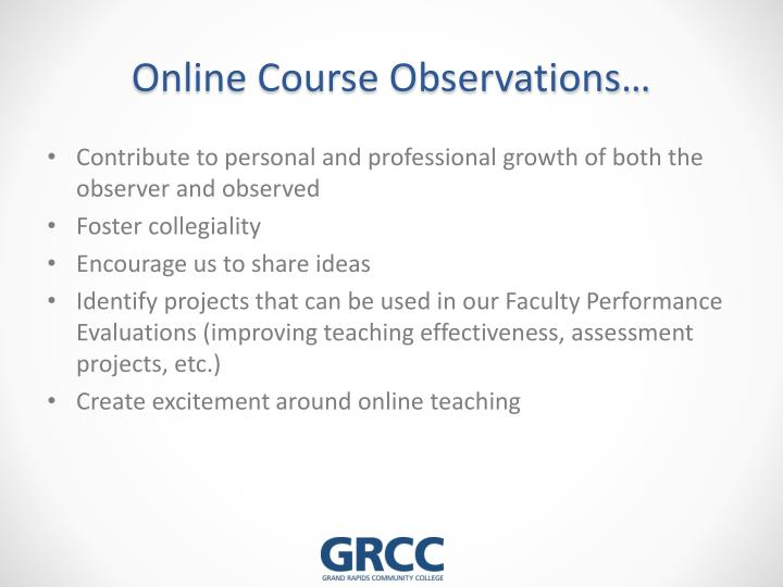 Online Course Observations…