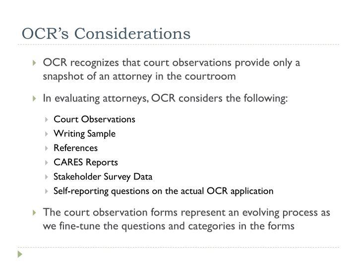 OCR's Considerations