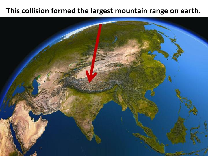This collision formed the largest mountain range on earth.