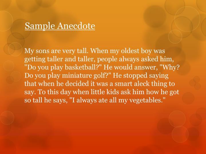 Sample Anecdote