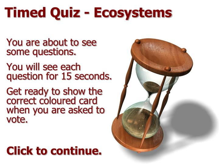 Timed quiz ecosystems