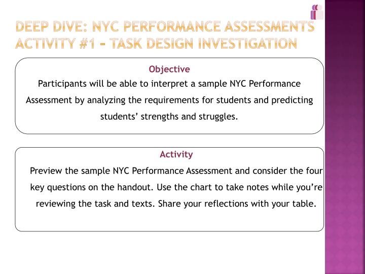 Deep Dive: NYC Performance Assessments