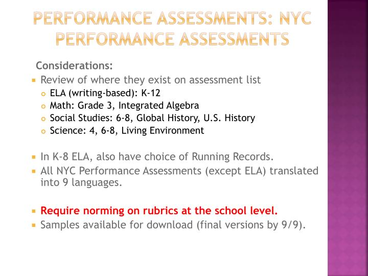 Performance Assessments: NYC Performance