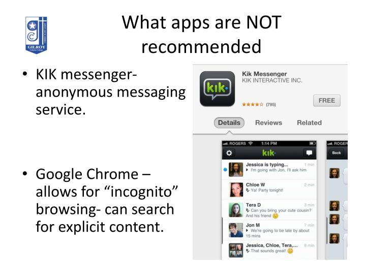 What apps are NOT recommended