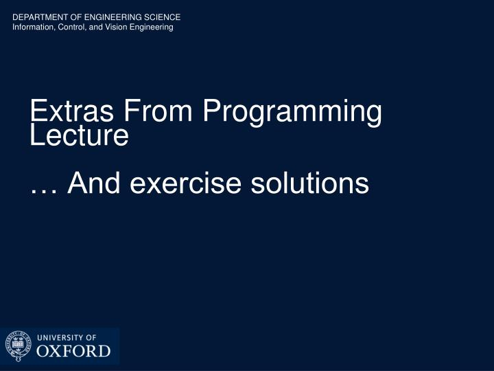 Extras From Programming Lecture
