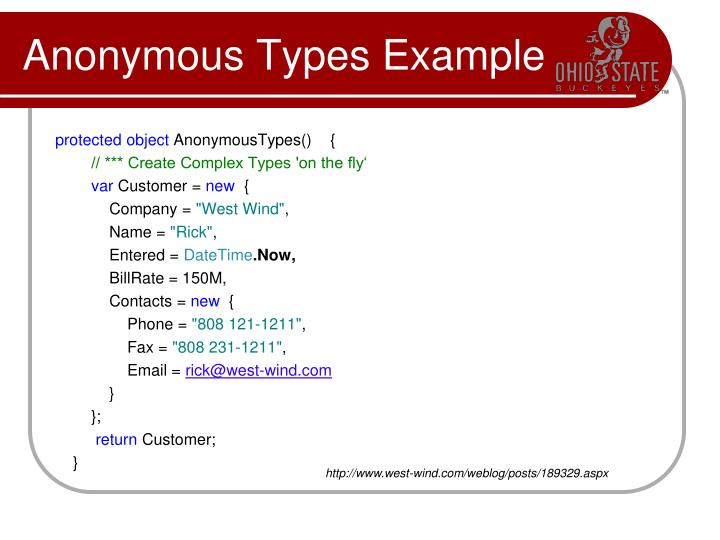 Anonymous Types Example