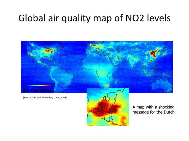 Global air quality map of NO2 levels