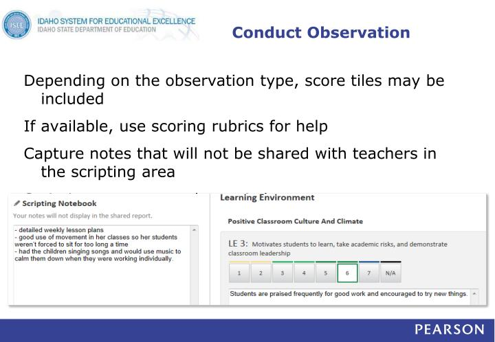Conduct Observation