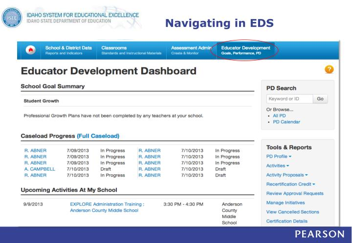 Navigating in EDS
