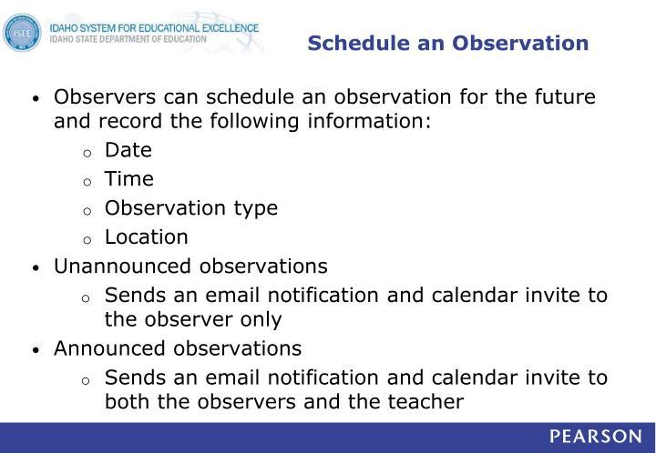 Schedule an Observation