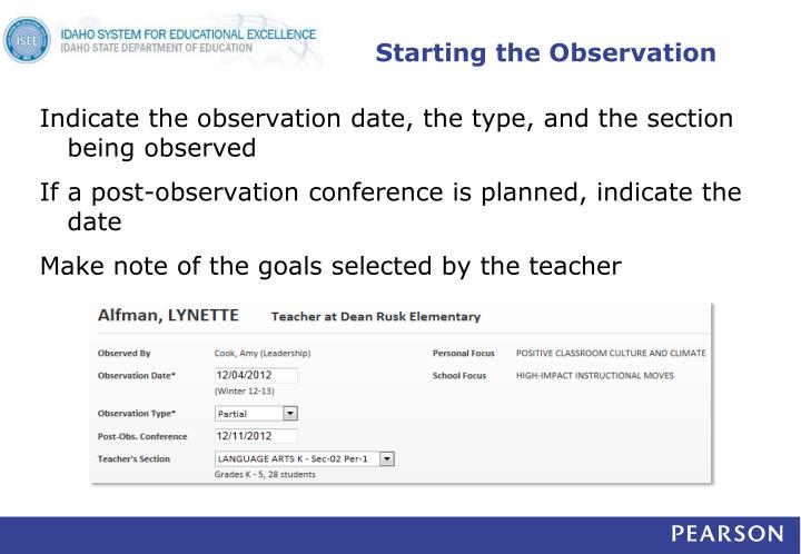 Starting the Observation