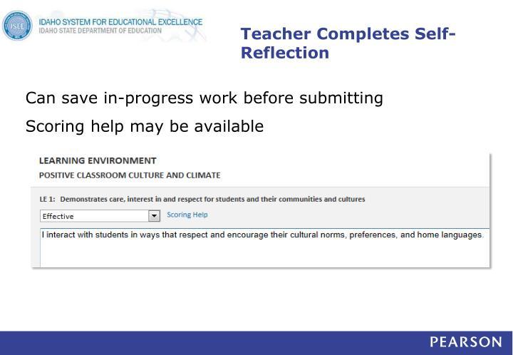 Teacher Completes Self-Reflection
