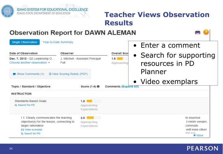 Teacher Views Observation Results
