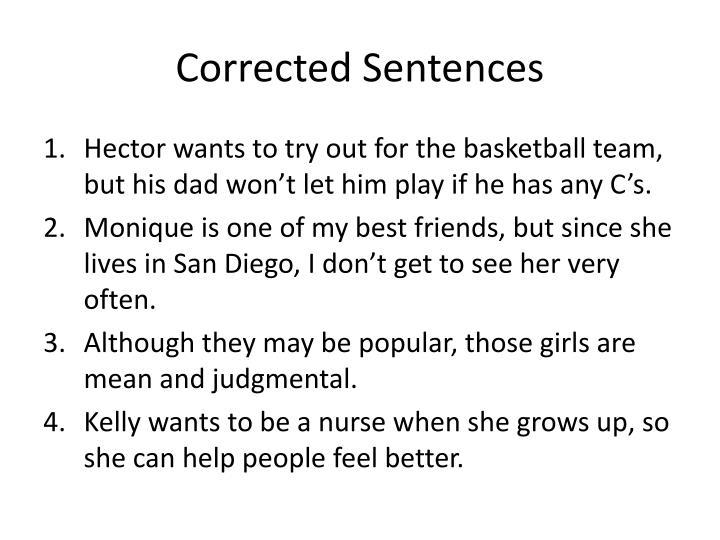 Corrected Sentences