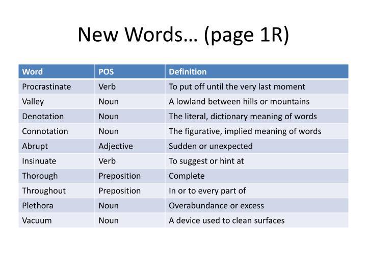 New Words… (