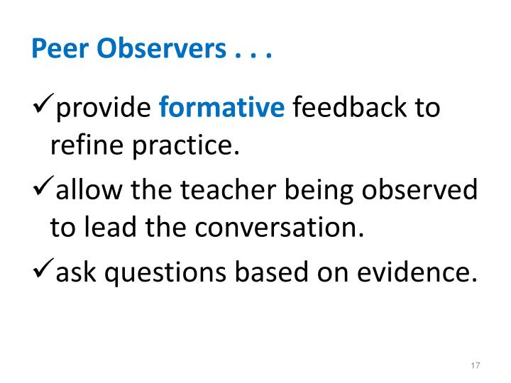 Peer Observers . . .