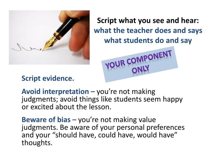Script what you see and hear: