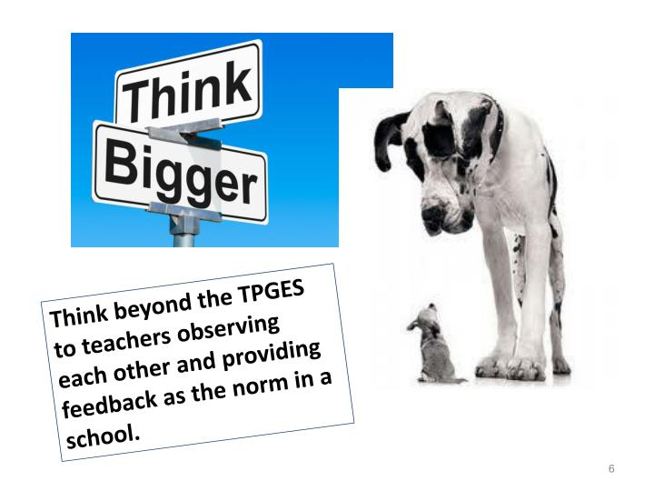 Think beyond the TPGES to teachers observing each other and providing feedback as the norm in a school.
