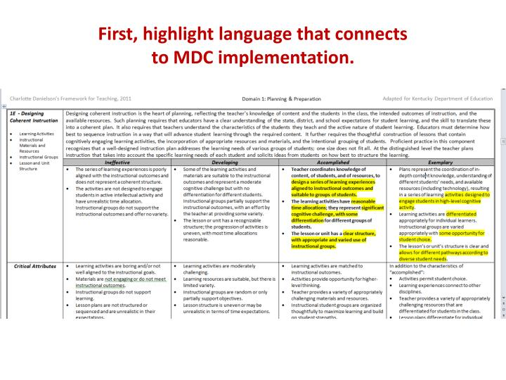 First, highlight language that connects                                       to MDC implementation.