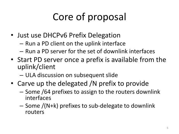 Core of proposal