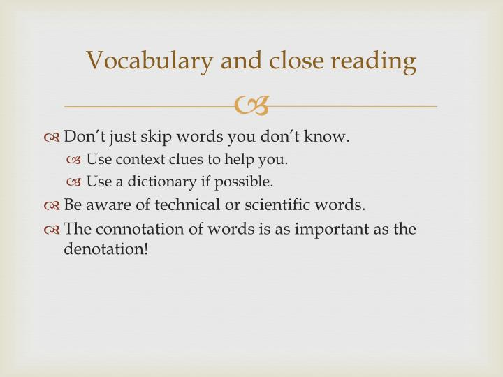 Vocabulary and close reading