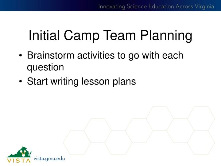 Initial Camp Team Planning