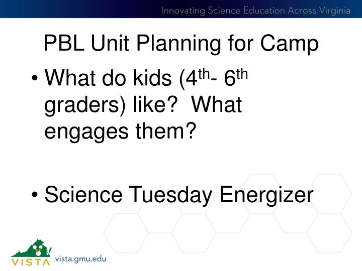 PBL Unit Planning for Camp
