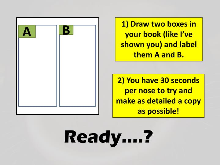 1) Draw two boxes in your book (like I've shown you) and label them A and B.