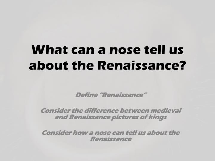 what can a nose tell us about the renaissance